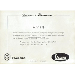 Bedienungsanleitung Vespa 125 Primavera mod. VMA2T, Additif