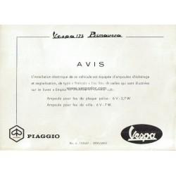 Notice d'emploi et d'entretien Vespa 125 Primavera mod. VMA2T, Additif