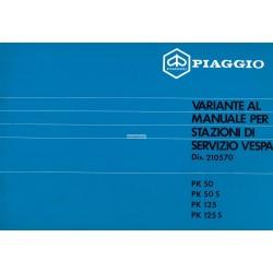 Manuale per Stazioni di Servizio Scooter Vespa PK 50, Vespa PK 50 S, Vespa PK 125, Vespa PK 125 S, Italiano