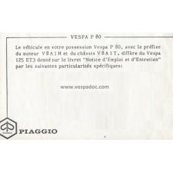 Manuale de Uso e Manutenzione Vespa 80, Vespa P80, mod. V8A1T
