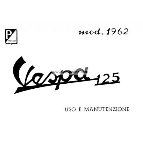Operation and Maintenance Vespa 125 mod. VNB3T, 1962, Italian