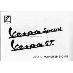 Notice d'emploi et d'entretien Vespa 125 GT mod. VNL2T, Vespa 150 Sprint mod. VLB2T, Italien