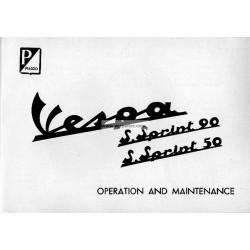Notice d'emploi et d'entretien Vespa 50 SS mod. V5SS1T, Vespa 90 SS mod. V9SS1T, Anglais