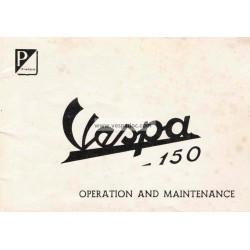 Manuale de Uso e Manutenzione Vespa 150 mod. VL3T 1956, Inglese
