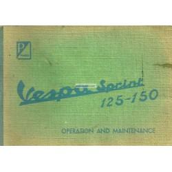 Notice d'emploi et d'entretien Vespa 125 Sprint mod. VNL2T, Vespa 150 Sprint mod. VLB1T, Anglais