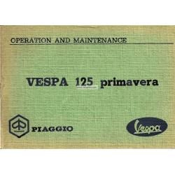 Manuale de Uso e Manutenzione Vespa 125 Primavera mod. VMA2T, Inglese