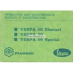 Notice d'emploi et d'entretien Vespa 50 R V5A1T, Vespa 50 Special V5B1T, Vespa 50 Elestart V5B2T, Anglais, Espagnol
