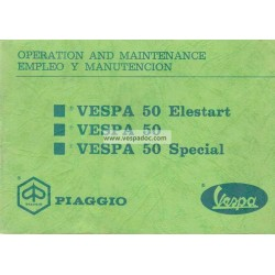 Operation and Maintenance Vespa 50 R V5A1T, Vespa 50 Special V5B1T, Vespa 50 Elestart V5B2T, English, Spanish