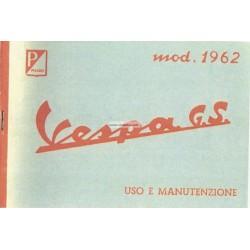 Notice d'emploi et d'entretien Vespa 160 GS mod. VSB1T 1962, Italien