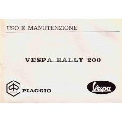 Notice d'emploi et d'entretien Vespa 200 Rally mod. VSE1T, Italien