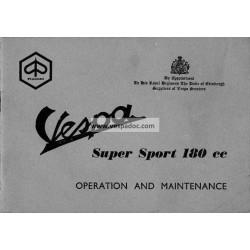Notice d'emploi et d'entretien Vespa 180 SS mod. VSC1T, Anglais