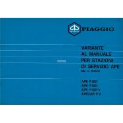 Service Station Manual Piaggio Ape MP, P501 MPR2T, P601 MPM1T, P601V MPV1T, Vespacar P2 AF1T, Italian