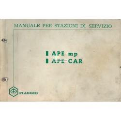 Service Station Manual Piaggio Ape MP, Ape 550 MPA1T, Ape 500 MPR1T, Ape 600 MPM1T, Ape 600 MPV1T, Vespacar P2 AF1T, Italian