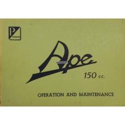 Bedienungsanleitung Piaggio Ape B 150, Englisch