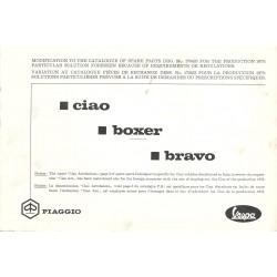 Catalogo delle parti di ricambio Piaggio Ciao, Piaggio Boxer, Piaggio Bravo, 1973