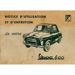 Notice d'emploi et d'entretien Vespa 400 Mod. 1957