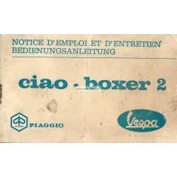 Notice d'emploi Piaggio Ciao, Piaggio Boxer 2, 1972