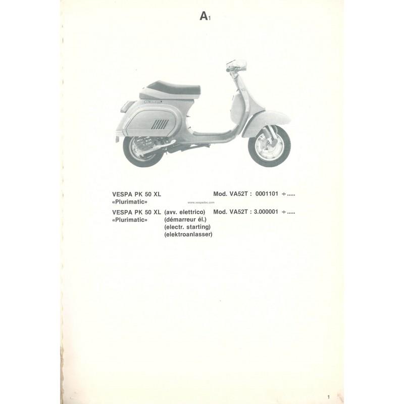 ersatzteil katalog scooter vespa pk 50 xl plurimatic mod va52t 1986 vespadoc. Black Bedroom Furniture Sets. Home Design Ideas