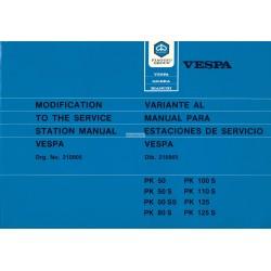 Werkstatthandbuch Scooter Vespa PK 50, PK 50 S, PK 50 SS, PK 80 S, PK 125, PK 125 S,  Englisch, Spanisch