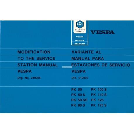 Manuale per Stazioni di Servizio Scooter Vespa PK 50, PK 50 S, PK 50 SS, PK 80 S, PK 125, PK 125 S, Inglese, Spagnolo