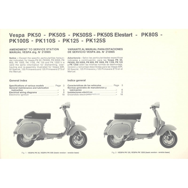workshop manual scooter vespa pk 50 pk 50 s pk 50 ss pk. Black Bedroom Furniture Sets. Home Design Ideas