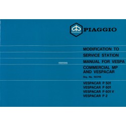 Service Station Manual Piaggio Ape MP, P501 MPR2T, P601 MPM1T, P601V MPV1T, Vespacar P2 AF1T, English