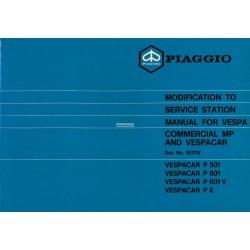 Werkstatthandbuch Piaggio Ape MP, P501 MPR2T, P601 MPM1T, P601V MPV1T, Vespacar P2 AF1T, Englisch