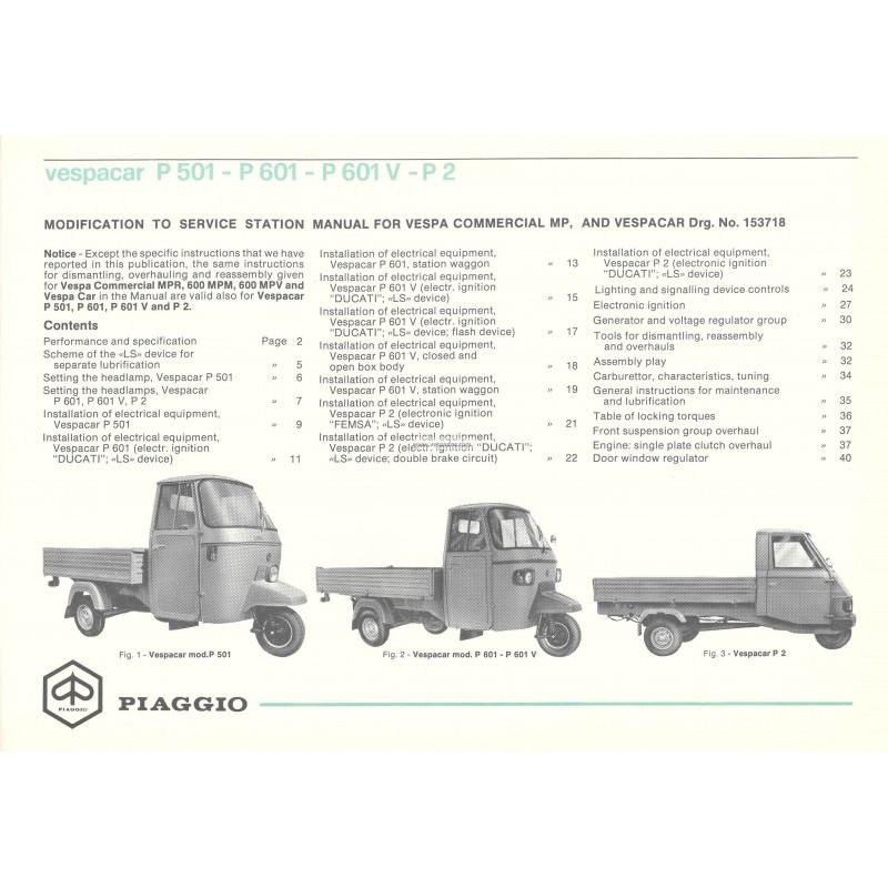 service station manual piaggio ape mp p501 mpr2t p601 mpm1t p601v rh vespadoc com Piaggio Ape Calessino Piaggio Ape USA