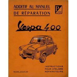 Additif au Manuel Technique pour Vespa 400 mod. 1958 et 1959