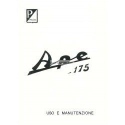Normas de Uso e Entretenimiento Piaggio Ape D 175cc mod. AD1T, AD2T, Italiano