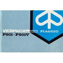 Notice Piaggio Ape P601 mod. MPM2T et MPM1T, P601V mod. MPV2T et MPV1T