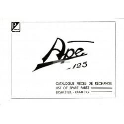 Catalogo delle parti di recambio Piaggio Ape A 125 de 1955