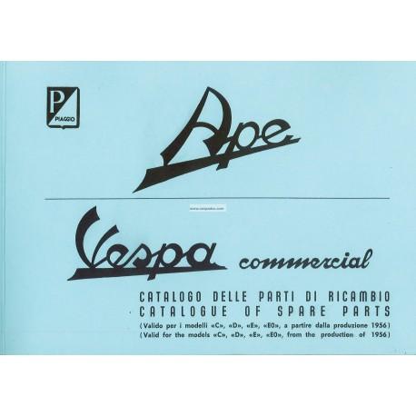 Catalogue of Spare Parts Piaggio Ape C, Ape D, Ape E, Ape EO 1956