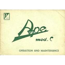 Manuale de Uso e Manutenzione Piaggio Ape C 150, Inglese