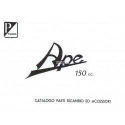 Catalogue de pièces Piaggio Ape B 150 de 1953, AB1T, Italien