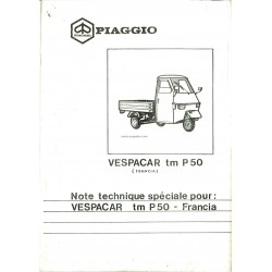 Catalogue de pieces Piaggio Ape TM P50 Mod. TL4T, Additif modèle Français