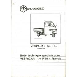 Ersatzteil Katalog Piaggio Ape TM P50 Mod. TL4T, Additif modèle Français