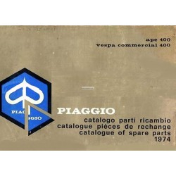 Catalogue of Spare Parts Piaggio Ape E 175 AE3T, Ape 125 AEO1T (350), Ape D 175 AD2T  (400), 1974