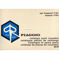 Catalogo de piezas de repuesto Piaggio Ape P350 125 cc AEO1T, P401 175cc AE3T, 1979