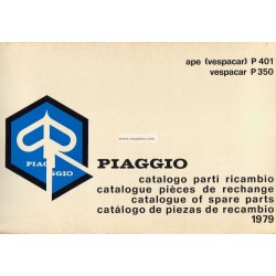 Catalogue de pieces Piaggio Ape P350 125 cc AEO1T, P401 175cc AE3T, 1979