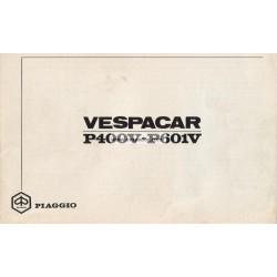 Notice Piaggio Ape P400V mod. MPF1T 125 cc