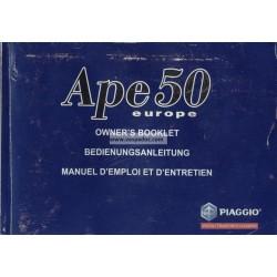 Manuale de Uso e Manutenzione Piaggio Ape 50 Europa mod. TL5T