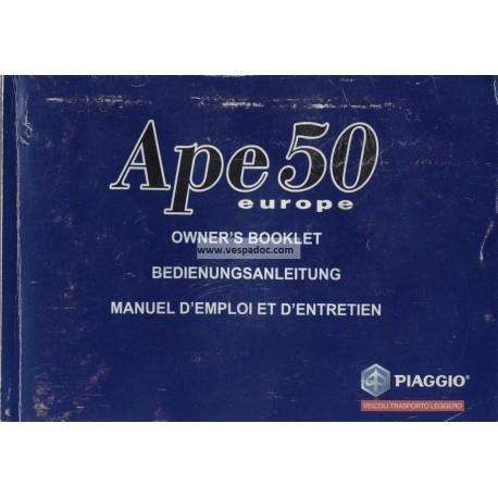 Notice Piaggio Ape 50 Europa mod. TL5T