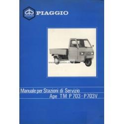 Manuel Technique Piaggio Ape TM P703, Piaggio Ape TM P703V, mod. ATM2T, Italien