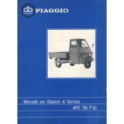 Manuale per Stazioni de Servizio Piaggio Ape TM P50, Ape 50, mod. TL4T, Italiano