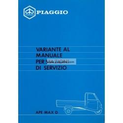 Manuale per Stazioni di Servizio Piaggio Ape Max Diesel, mod. AFD3T, Italiano