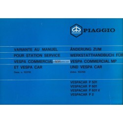 Werkstatthandbuch Piaggio Ape MP, P501 mod. MPR2T, P601 mod. MPM1T, P601V mod. MPV1T, Vespacar P2 mod. AF1T