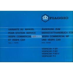 Workshop Manual Piaggio Ape MP, P501 mod. MPR2T, P601 mod. MPM1T, P601V mod. MPV1T, Vespacar P2 mod. AF1T