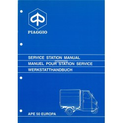 Manuale per Stazioni di Servizio Piaggio Ape 50 Europa, mod. TL5T