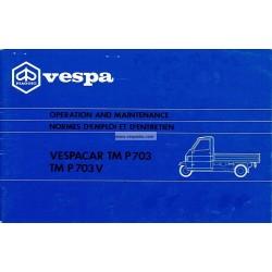 Normas de Uso e Entretenimiento Piaggio Ape TM P703, Piaggio Ape TM P703V, mod. ATM1T, ATM2T